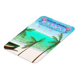 "Samoa ""travel into adventure"" travel poster. rectangular photo magnet"