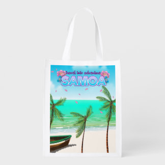 "Samoa ""travel into adventure"" travel poster. reusable grocery bag"