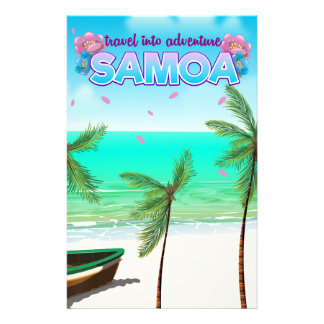 "Samoa ""travel into adventure"" travel poster. stationery"