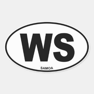 Samoa WS Oval ID Identification Code Initials Oval Sticker