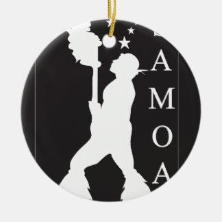 SamoaBlackWhite.ai Round Ceramic Ornament