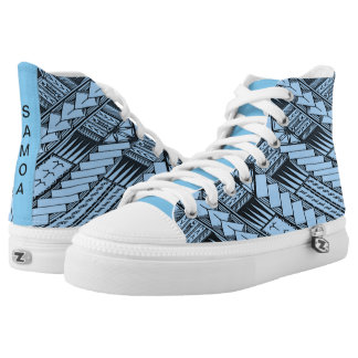 Samoan Blue/Baby Blue Tribal Designs by TONU High Tops