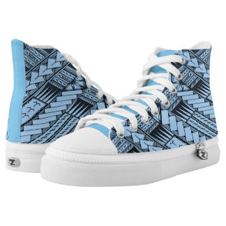 Samoan Blue/Baby Blue Tribal Designs by TONU High Tops