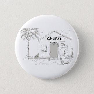 Samoan Boy Stand By Church Cartoon 2 Inch Round Button