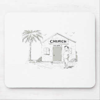 Samoan Boy Stand By Church Cartoon Mouse Pad