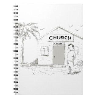 Samoan Boy Stand By Church Cartoon Notebook