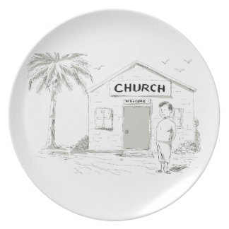 Samoan Boy Stand By Church Cartoon Plate