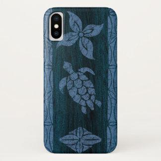 Samoan Tapa Hawaiian Faux Wood Surfboard iPhone X Case
