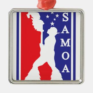 SamoanNBA.ai Silver-Colored Square Ornament