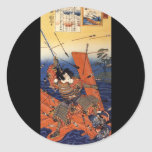 Samouraïs à la guerre, circa 1800's adhésif rond