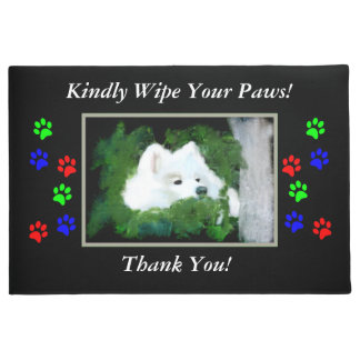 """Samoyed 18x24""""or 24X36"""" """"Wipe Your Paws"""" Door Mat"""