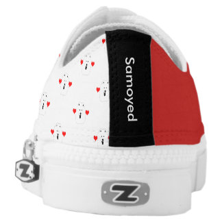 Samoyed,  1/2 Print & 1/2 Solid  LowTop Sneakers