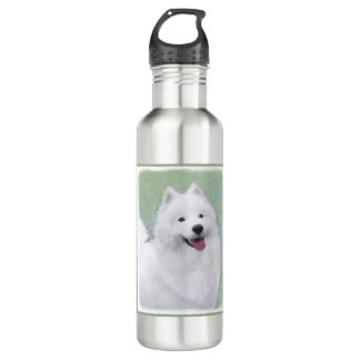 Samoyed 2 Painting - Cute Original Dog Art 710 Ml Water Bottle