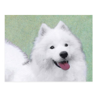 Samoyed 2 Painting - Cute Original Dog Art Postcard