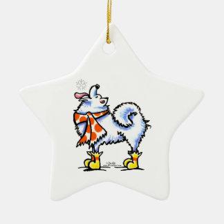 Samoyed American Eskimo Dog Snowflake Ceramic Ornament