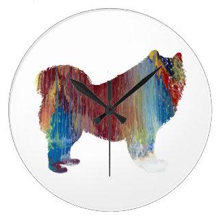 Samoyed art large clock