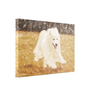 """Samoyed Art Wrapped Canvas  24.00"""" x 16.00X1.5"""""""