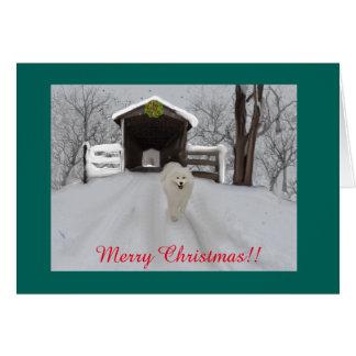 "Samoyed Christmas Greeting Card, 7"" X 5"" Card"