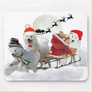 Samoyed Christmas Puppy Mousepads