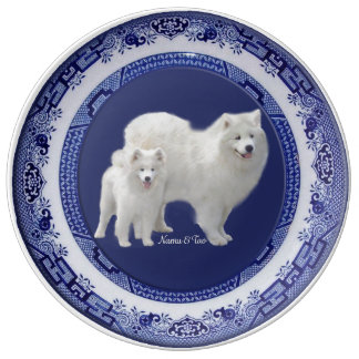 """Samoyed Collector Plates - Porcelain, 10.75 & 8.5"""""""