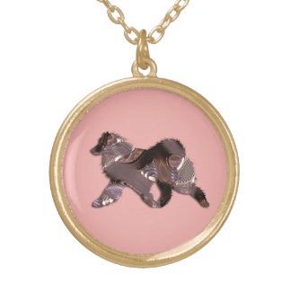 Samoyed Custom Gold Finish Round Necklace