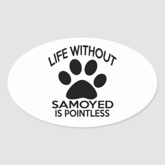 SAMOYED DESIGNS OVAL STICKER