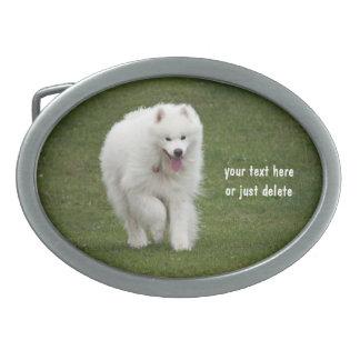 Samoyed dog beautiful photo custom belt buckle