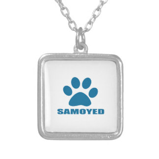 SAMOYED DOG DESIGNS SILVER PLATED NECKLACE