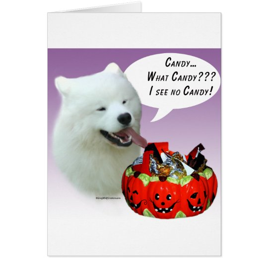 Samoyed Halloween Candy Card