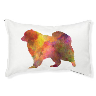 Samoyed in watercolor pet bed