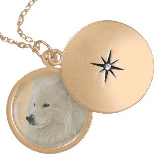 Samoyed Necklace - Gold Finish, Med.