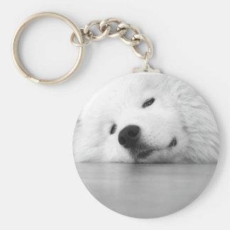 Samoyed Photo Dog White Basic Round Button Keychain