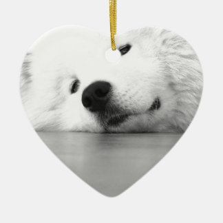 Samoyed Photo Dog White Ceramic Heart Ornament