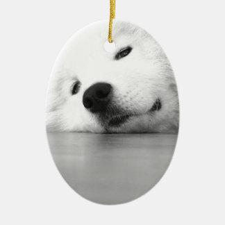 Samoyed Photo Dog White Ceramic Oval Ornament