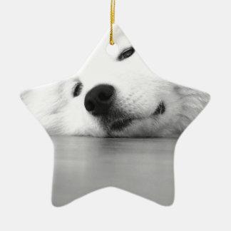 Samoyed Photo Dog White Ceramic Star Ornament