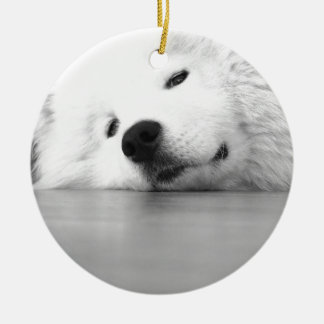 Samoyed Photo Dog White Round Ceramic Ornament