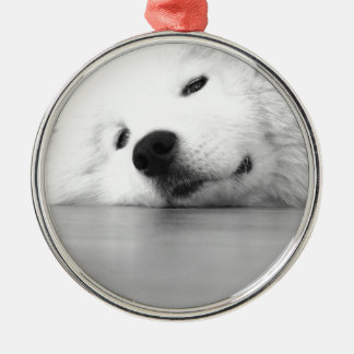 Samoyed Photo Dog White Silver-Colored Round Ornament