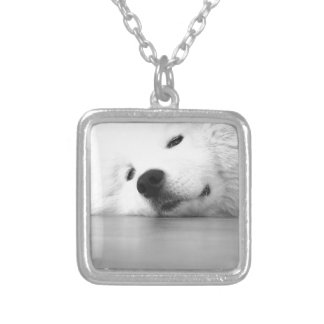 Samoyed Photo Dog White Silver Plated Necklace