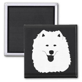"Samoyed Portrait;2"" sq. & rnd Magnets; Sizes Avail Magnet"