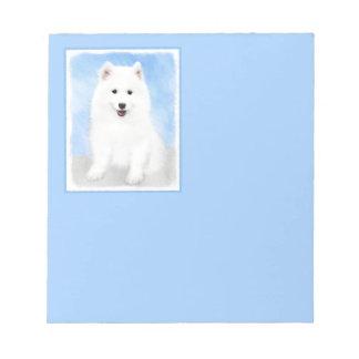 Samoyed Puppy Painting - Cute Original Dog Art Notepad