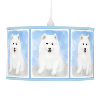 Samoyed Puppy Painting - Cute Original Dog Art Pendant Lamp