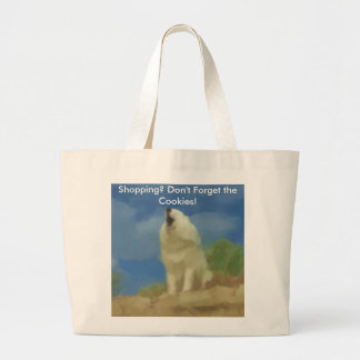 Samoyed Shopping Tote: Don't Forget the Cookies! Large Tote Bag