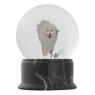 Samoyed Snow Globe; Holiday Décor. Snow Globe