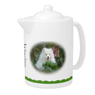 Samoyed Teapot, white porcelain