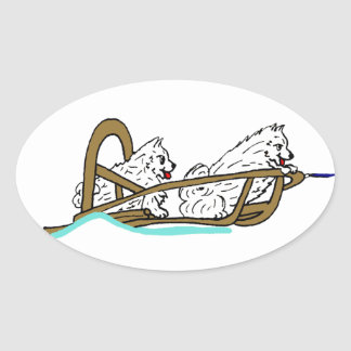 Samoyeds in Sled Oval Sticker