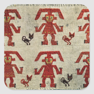 Sample of Lambayeque fabric with a figure Square Sticker