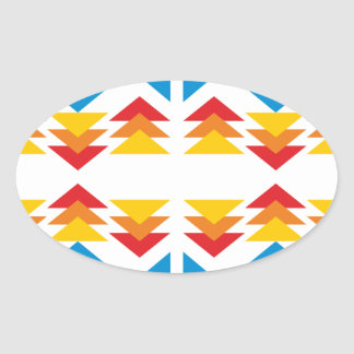 Sample of triangles pattern triangles oval sticker