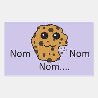 Sample rectangular Nom Nom Nom... cookie sticker.