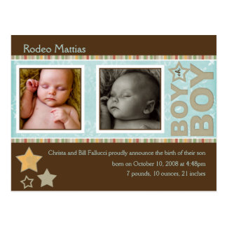 Sample Rodeo Mattias Birth Announcement Postcard