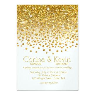 SAMPLEGlitter Confetti Shower Wedding   gold white Card